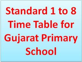 Standard 1 to 8 Time Table