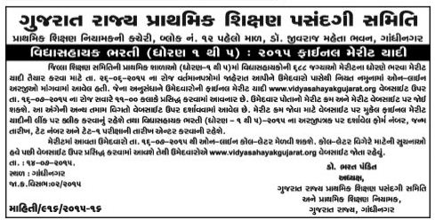 Std 1 to 5 Vidhyashayak Bharti 2015 Final Merit List
