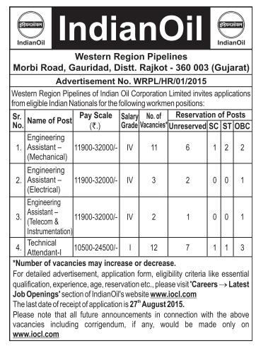 IOCL Rajkot Recruitment 2015