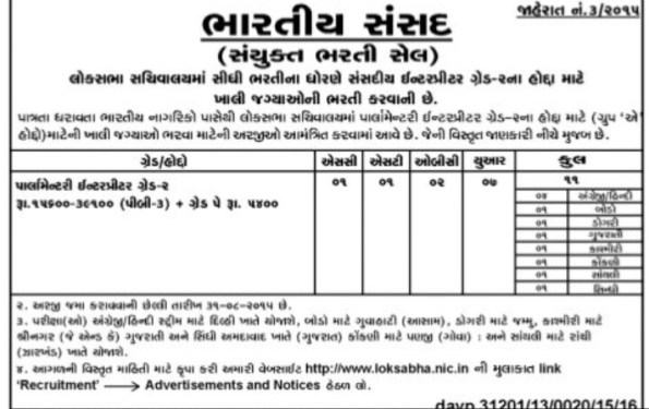 Bhartiya Sansad Recruitment 2015