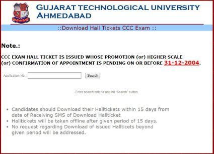 GTU CCC Phase 7 Exam Hall Ticket