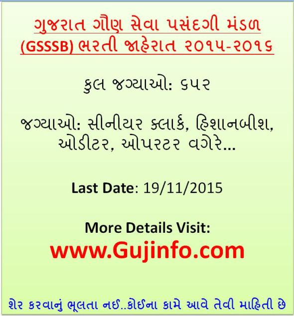 GSSSB Recruitment 2015