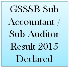 GSSSB Sub Accountant / Sub Auditor Result 2015 Declared