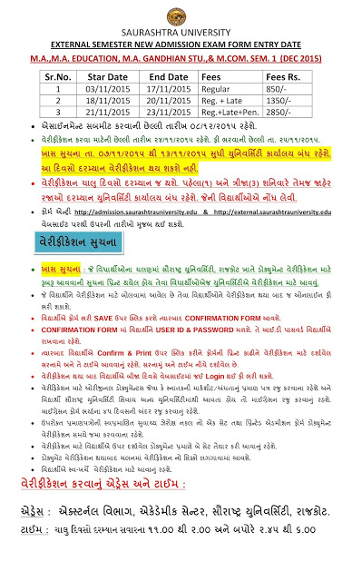 Saurashtra University December 2015 Admission Notification