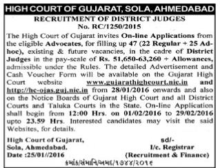 Gujarat High Court District Judges Recruitment 2016