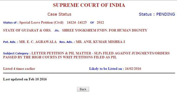 Supreme Fix Pay Case Next Date 16-02-2016