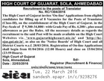 Gujarat High Court Translator Recruitment 2016