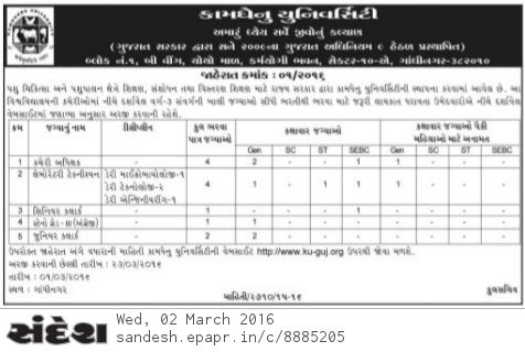 Kamdhenu University Recruitment 2016