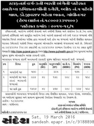 Staff Nurse Recruitment 2016 gujhealth gov in