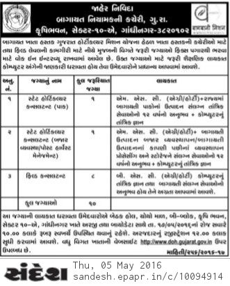 doh.gujarat.gov.in Gujarat Horticulture Mission Recruitment 2016
