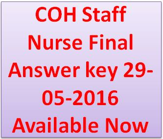 COH Staff Nurse Final Answer key 29-05-2016