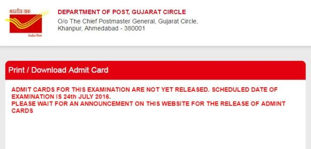 gujpostexam.com Postman and Mail Guard Admit Card