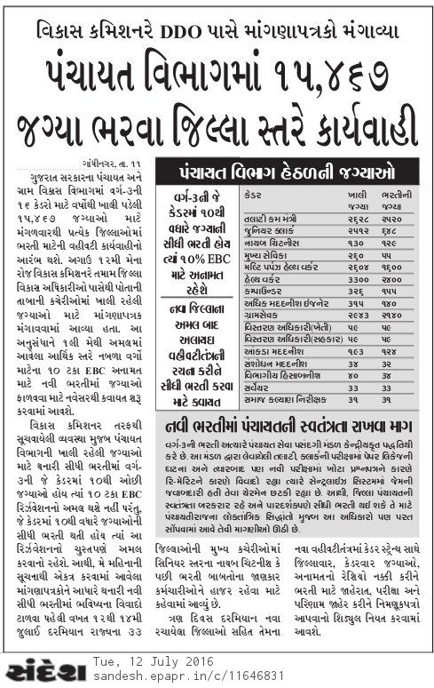 Gujarat Panchayat Vibhag Upcoming Bharti