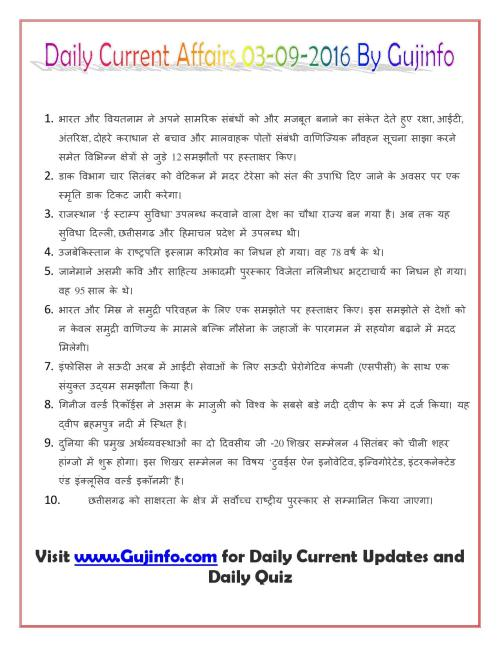 Daily Current Affairs 04-09-2016