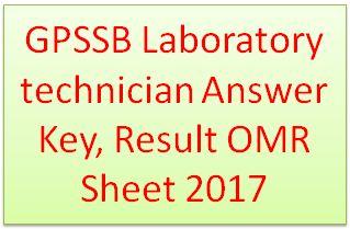 GPSSB Laboratory technician Answer Key 2017