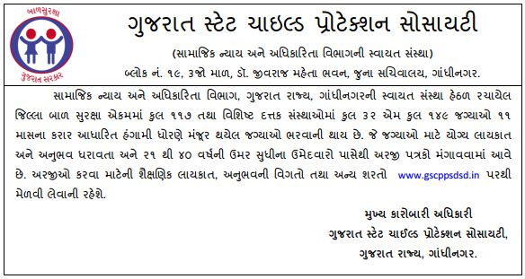 Gujarat State Child Protection Society Recruitment 2017