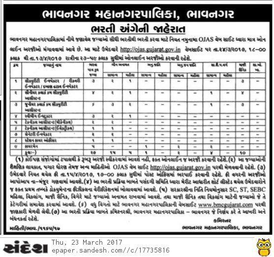 Bhavnagar Municipal Corporation Recruitment 2017