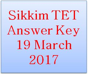 Sikkim TET Answer Key 2017