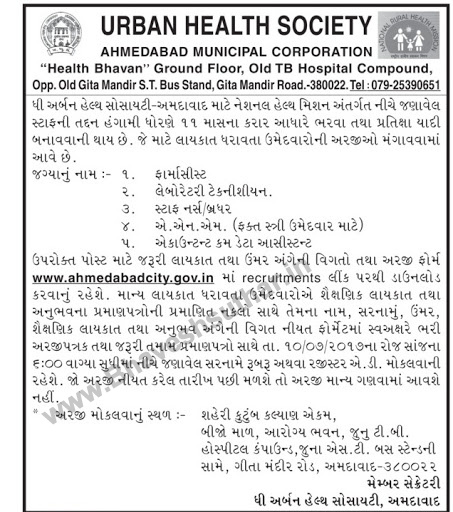 AMC Recruitment 2017 @ahmedabadcity.gov.in - Application Form
