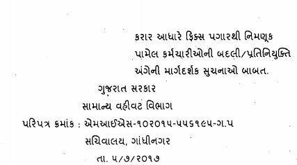 Fix Pagar Karmchari Badli Paripatra