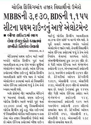 Gujarat Medical Admission 2019-20, Merit List @medadmgujarat org