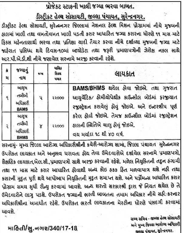 District Health Society Surendranagar Recruitment