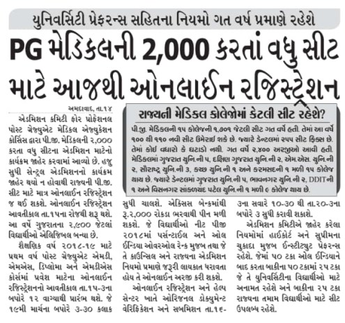 Gujarat Medical Admission 2018