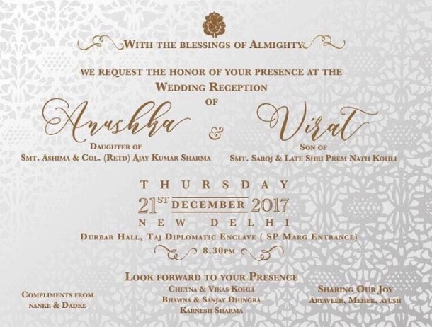 Anushka Virat wedding card