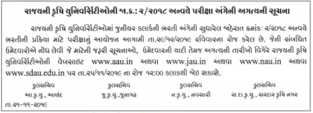 Gujarat Agricultural University Junior Clerk Exam Date