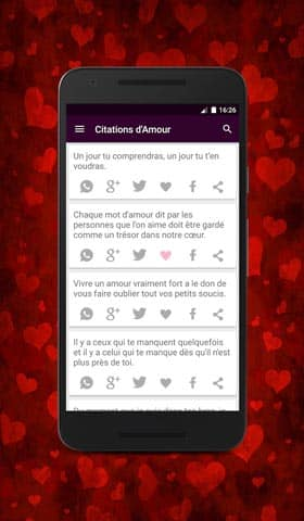 L'application de citations d'amour