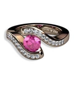rosa safir och briljantslliapde diamanter i 18 k rött guld
