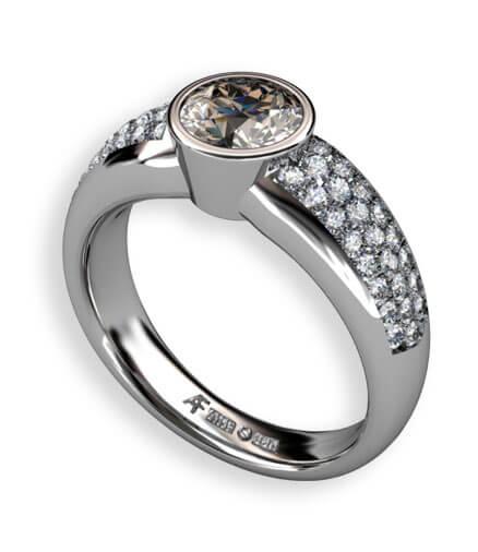 rökfärgad diamant vitguld