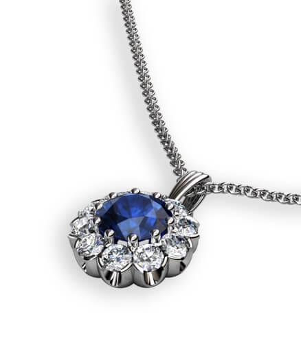 hängsmycke med blå safir och diamanter