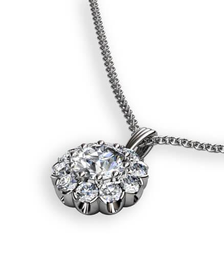 Rosetthängsmycke med diamanter