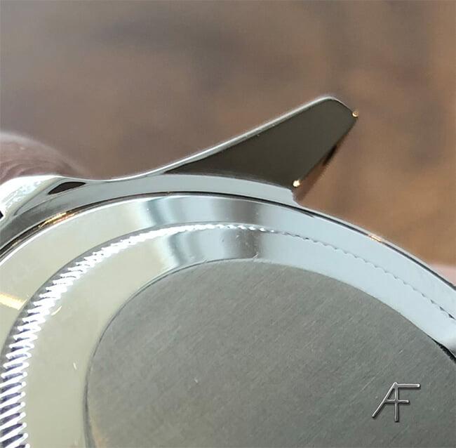 Närbild av stålrolex