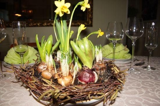 Borddekoration til forårs bordet