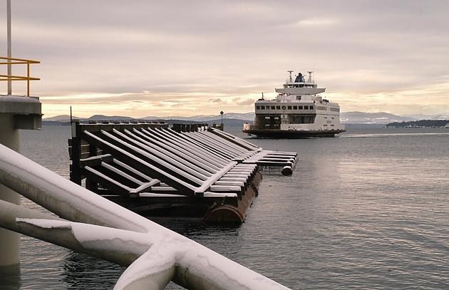 The Queen of Cumberland arriving at Otter Bay on North Pender Island during a rare snow storm