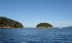 Kayaking near Georgeson Island, Gulf Islands National Park, Mayne Island, British Columbia