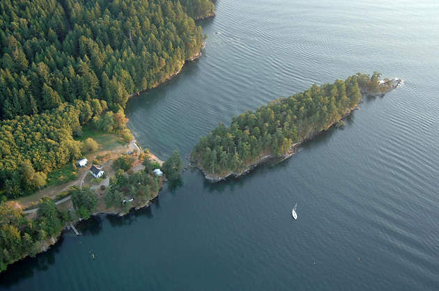 Aerial photo of Roesland, Gulf Islands National Park Reserve of Canada, North Pender Island