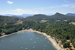 Aerial photograph of Horton Bay, Mayne Island, British Columbia