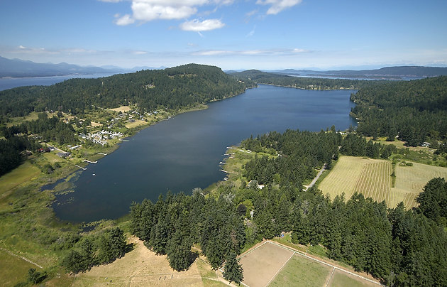 Aerial photograph of Saint Mary Lake, Salt Spring Island, British Columbia