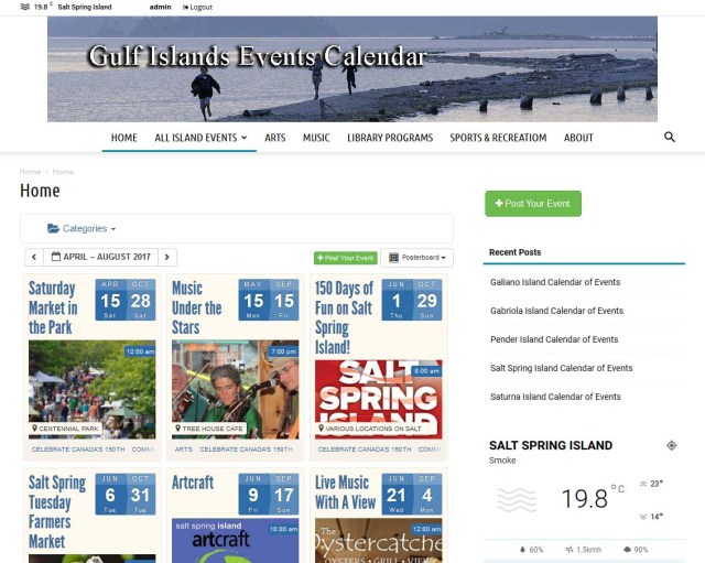 Gulf Islands Events Calendar
