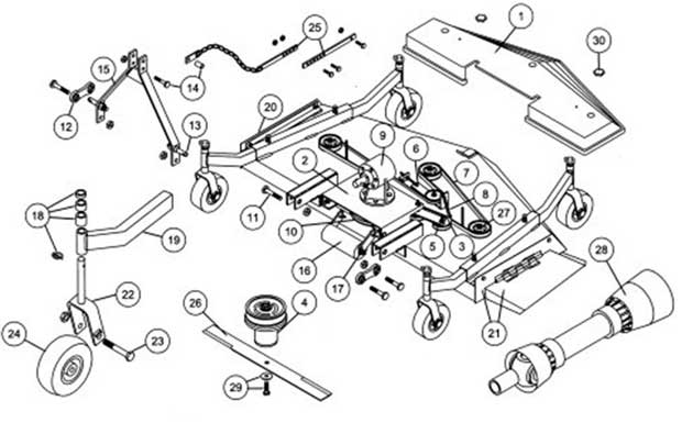 King Kutter Finish Mower Replacement Parts Diagram