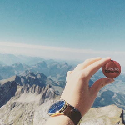 GumboGumbo! is traveling all over the world. We received this picture from our biggest fan in Switzerland. Thank you for this very cool picture Max, we're happy you like our button too!