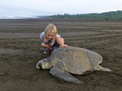 Camille with a Turtle