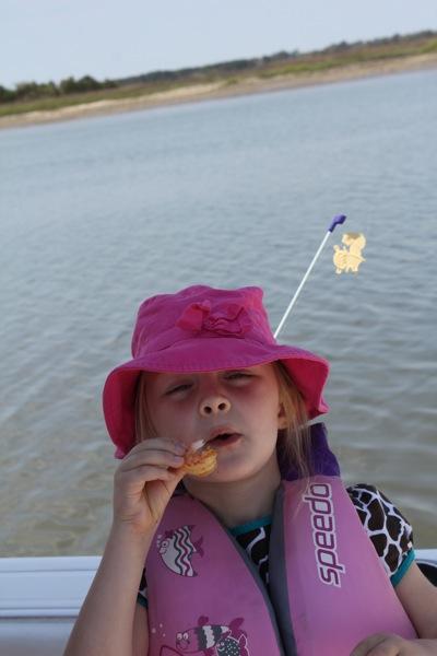 Peeled her first shrimp