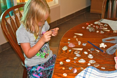 Making shell necklaces