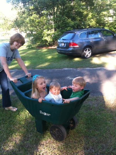 Yard cart full of cousins