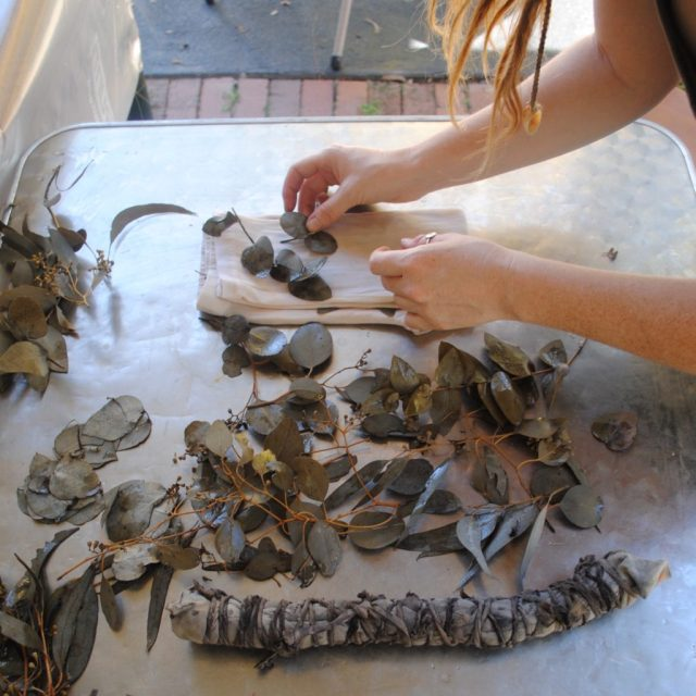 Arranging eucalyptus leaves on cotton for natural dyeing
