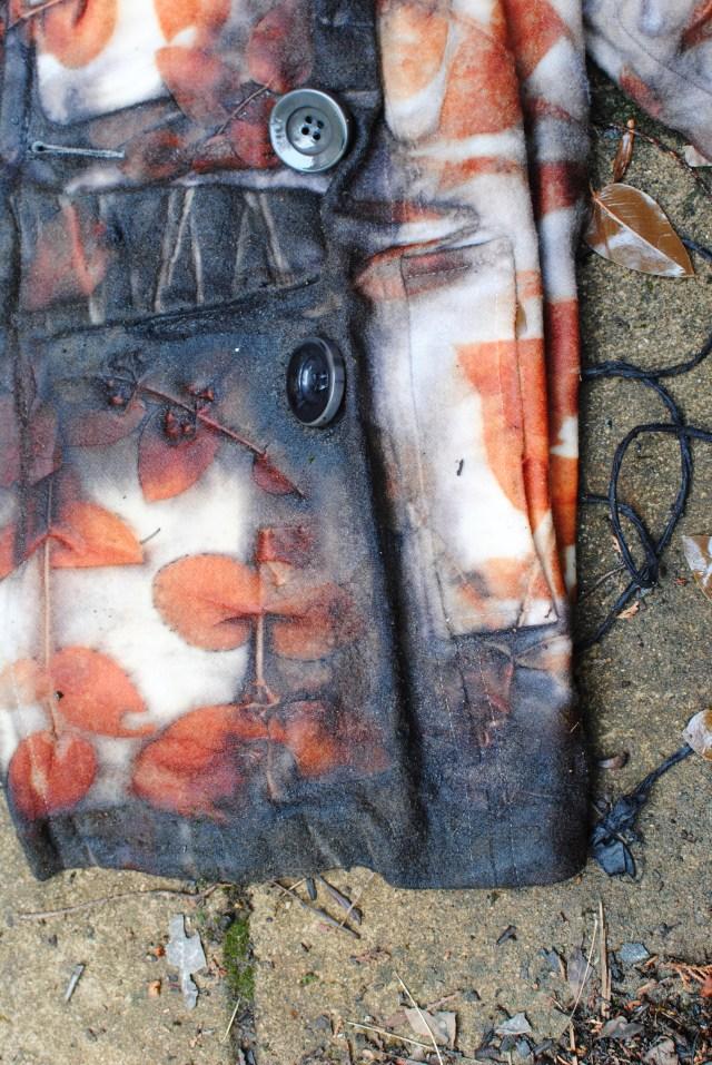 Shibori folding with eucalyptus leaf prints